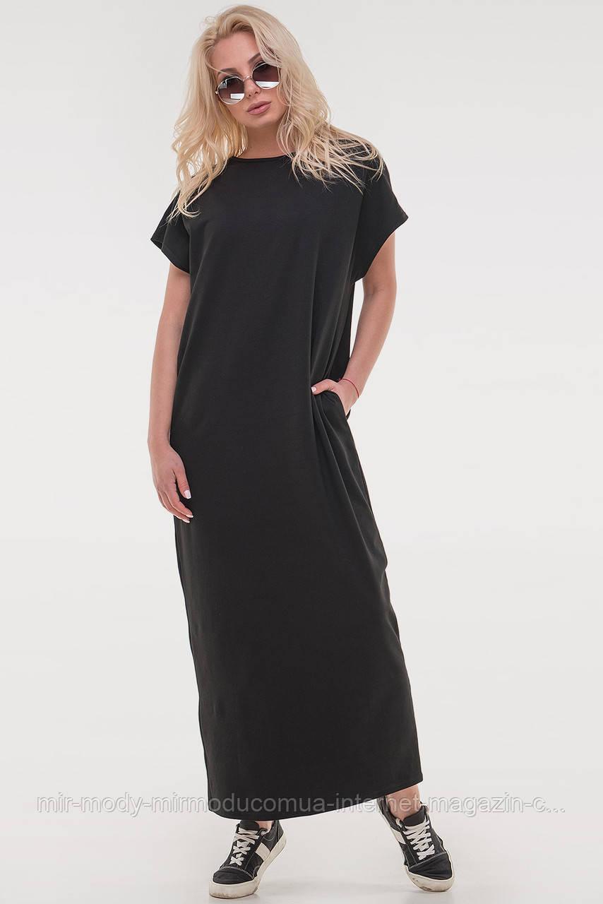 Платье мешок черного цвета с 42 по 48  размер( 3 цвета) (влн)