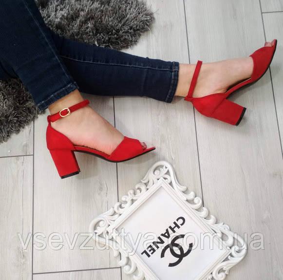 ed49a1ea65354c Босоніжки жіночі червоні екозамша на низькому каблуку: продажа, цена ...
