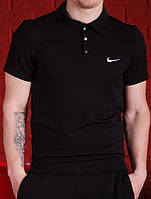 Футболка Поло Мужская черная Nike (Найк)