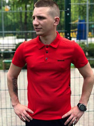 Футболка Поло Мужская красная Reebok (Рибок), фото 2