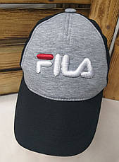 """Мужская кепка в стиле """"Fila"""" (копия), светло-серая, трикотаж, сезон весна-лето, большая вышивка, регулятор, фото 2"""