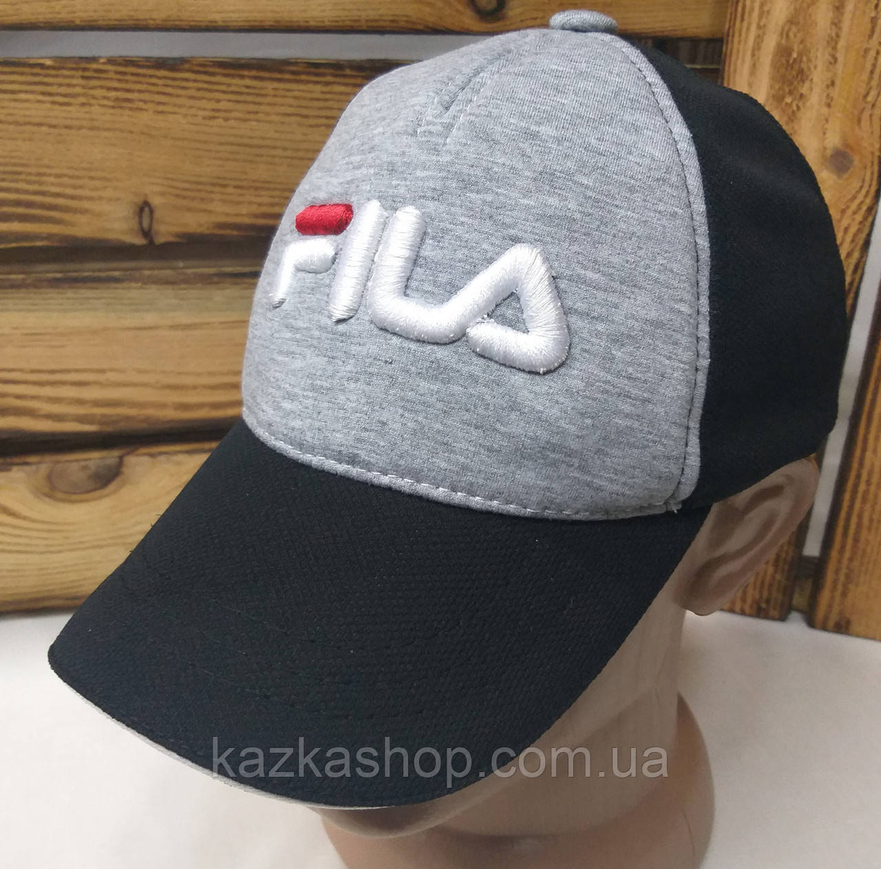 """Мужская кепка в стиле """"Fila"""" (копия), светло-серая, трикотаж, сезон весна-лето, большая вышивка, регулятор"""