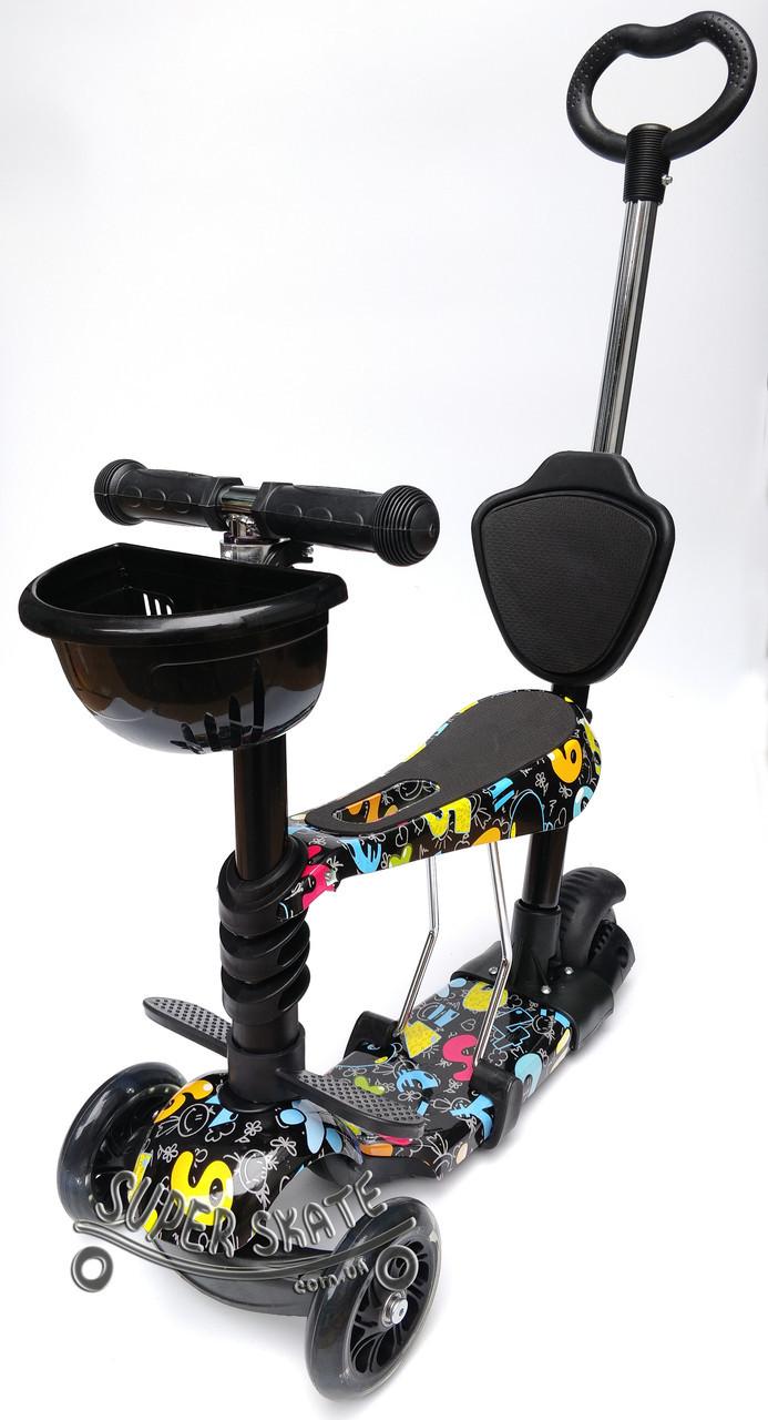 Самокат для малышей 5 в 1 Scooter -  Детский самокат с родительской ручкой и сиденьем - Буквы Черные