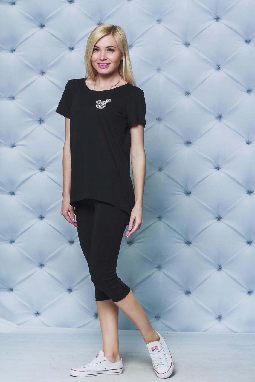 Костюм женский летний с бриджами черный