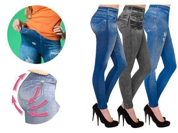 Утягивающие джеггинсы под джинсы Slim N Lift Caresse лосины Jeans синие