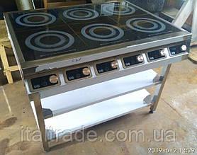 Индукционная плита напольная 6 конфорок по 1,8 кВт