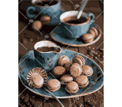 """Картина по номерам """"Макароны к кофе"""" (натюрморт, еда, кофе)"""