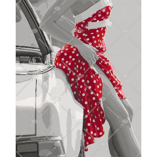 """Картина по номерам """"Соблазнительница"""" (женщина, люди, машина, платье)"""