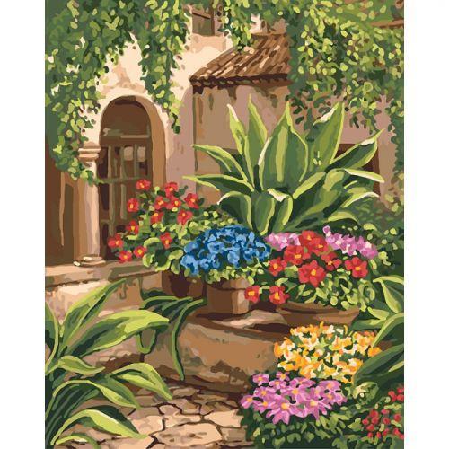 """Картина по номерам """"Волшебный дворик"""" (цветы, пейзаж)"""