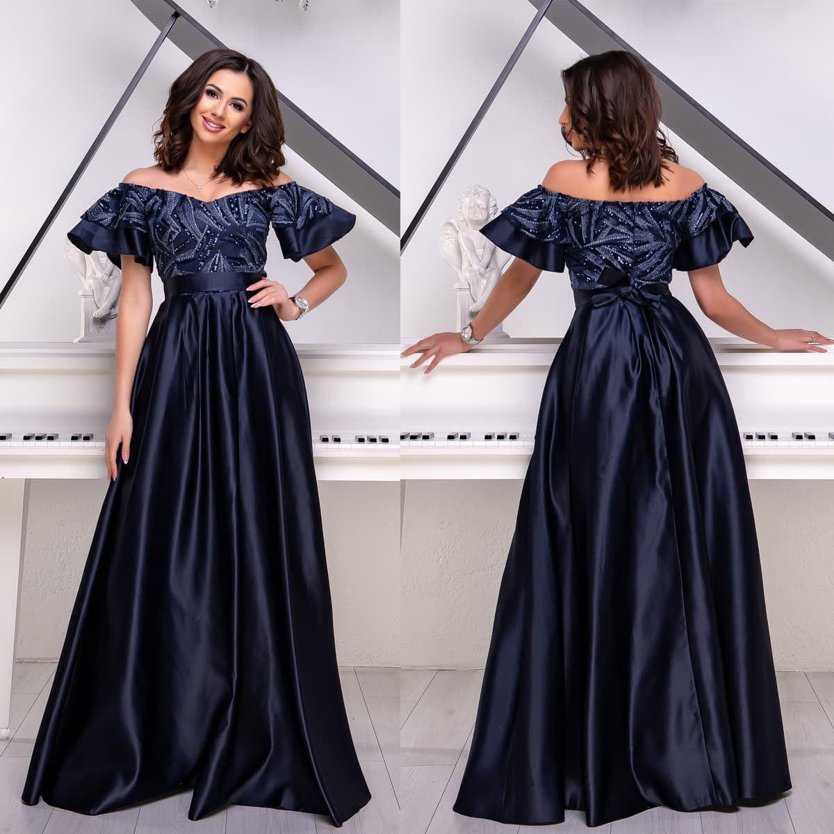 """Шикарне атласна сукня вечірнє, випускне темно-синє """"Сідней"""""""