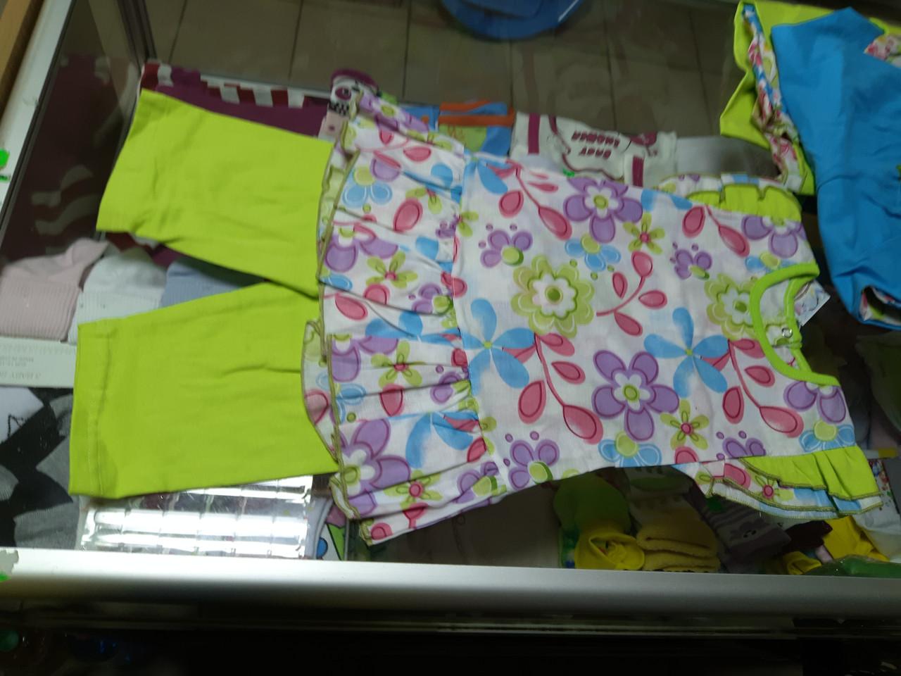 Детский летний костюм для девочки туника и бриджи  р.98 -110