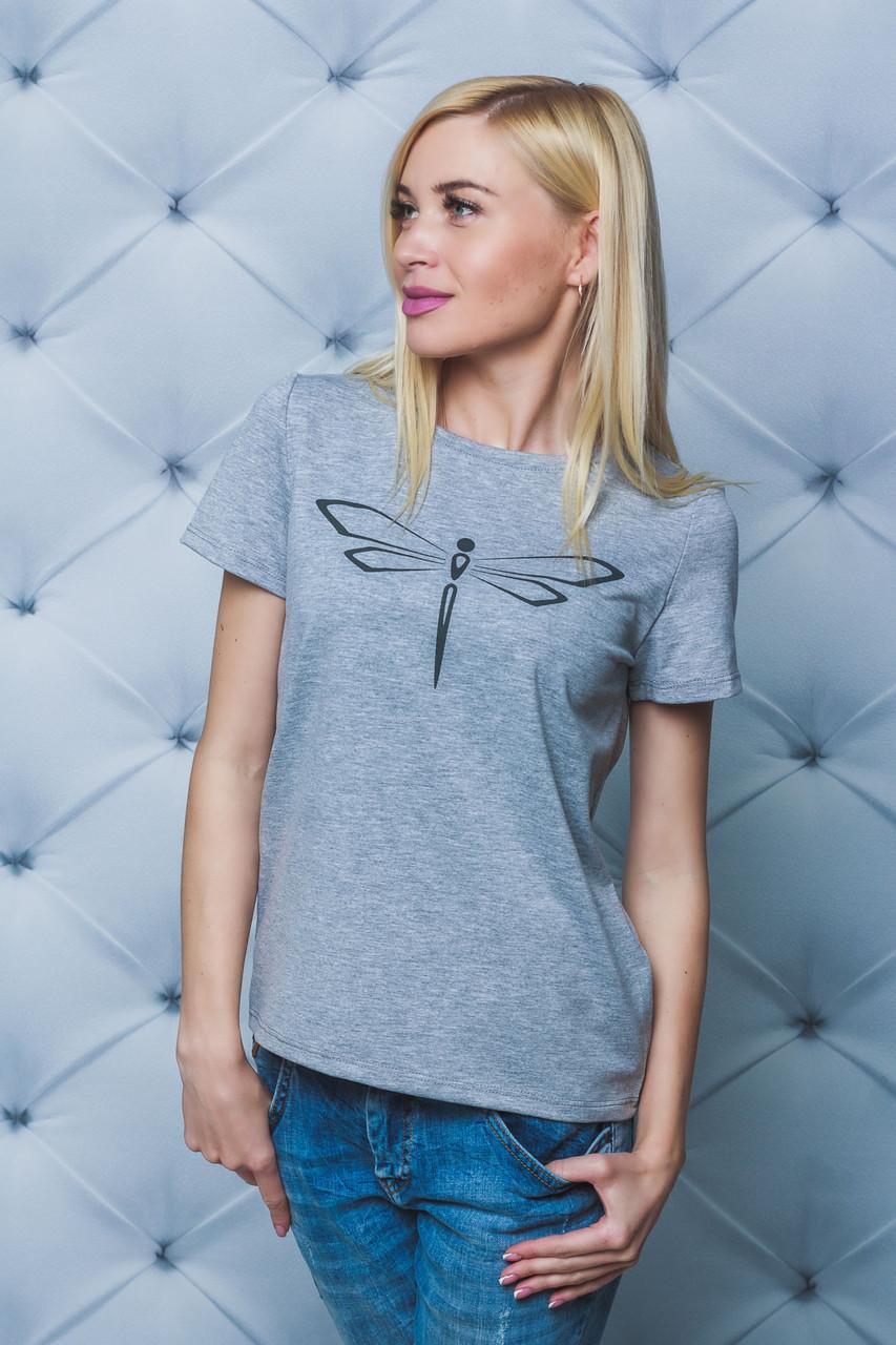 Женская футболка Стрекоза меланж