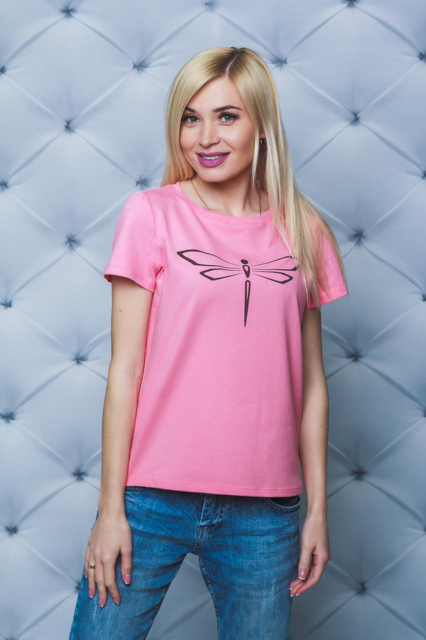 Женская футболка Стрекоза персик