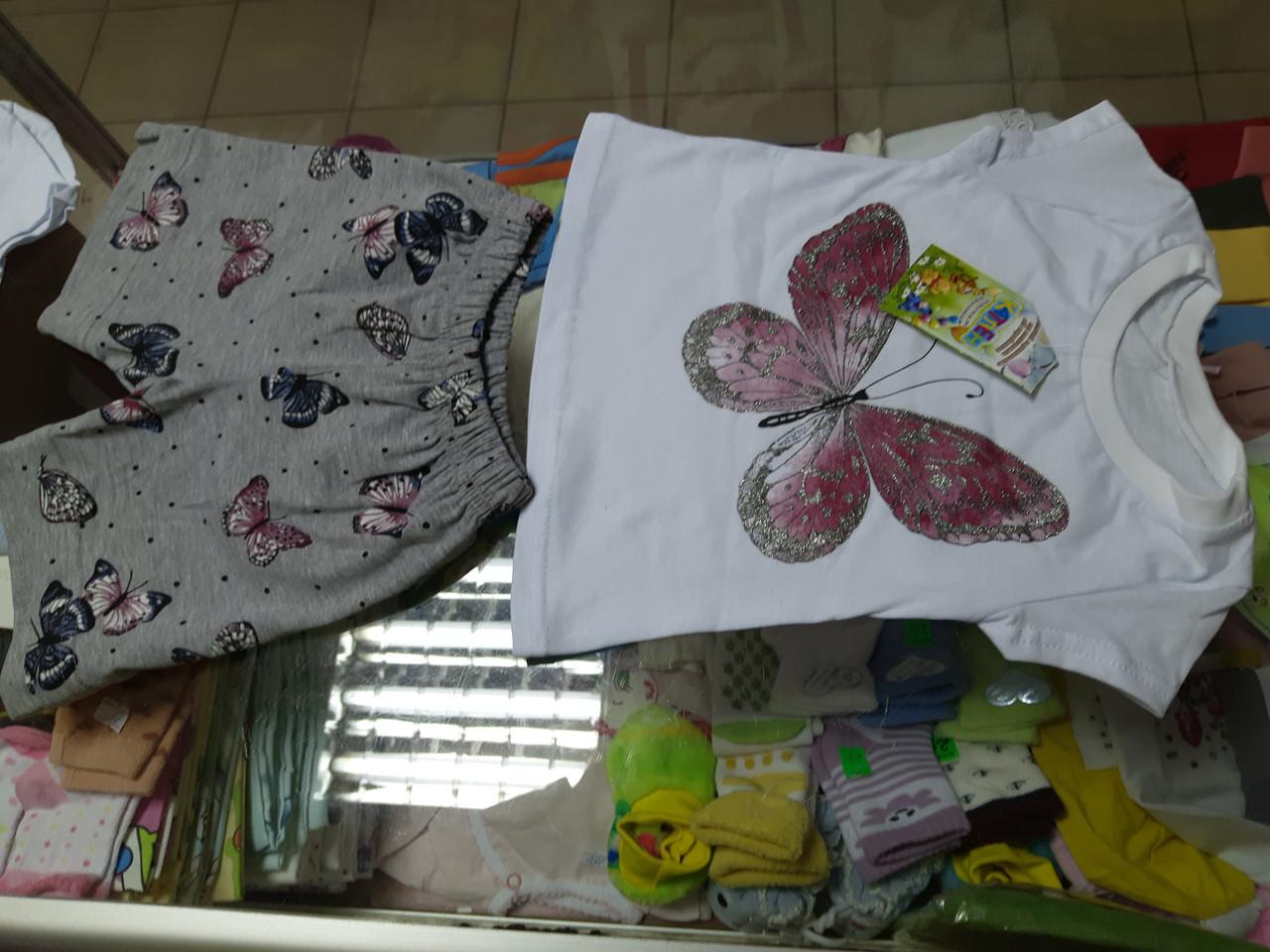 Детский летний костюм для девочки футболка и шорты Серябрянный узор   р.86 -104