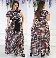 72f5a40a5b7 Красивое женское шифоновое платье в пол под пояс с красивым декольте из рюш  50-54