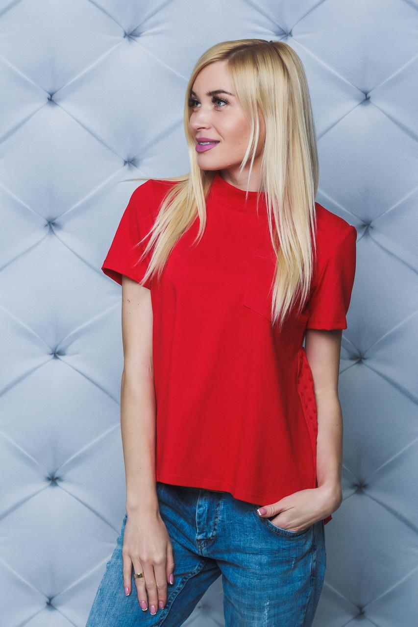 Блуза женская с коротким рукавом красная