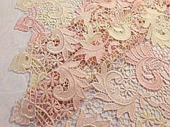Сетка макраме двухцветный, бежево-розовый