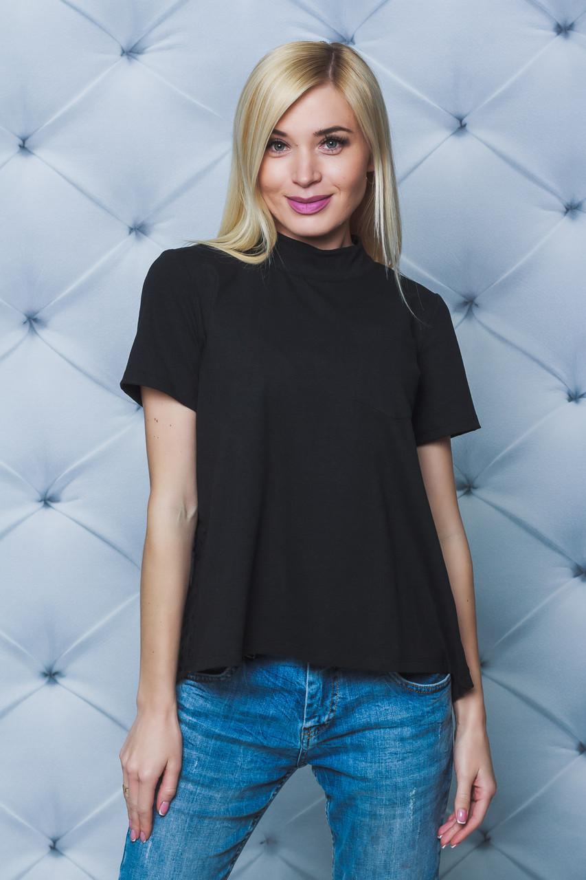 Блуза женская с коротким рукавом черная
