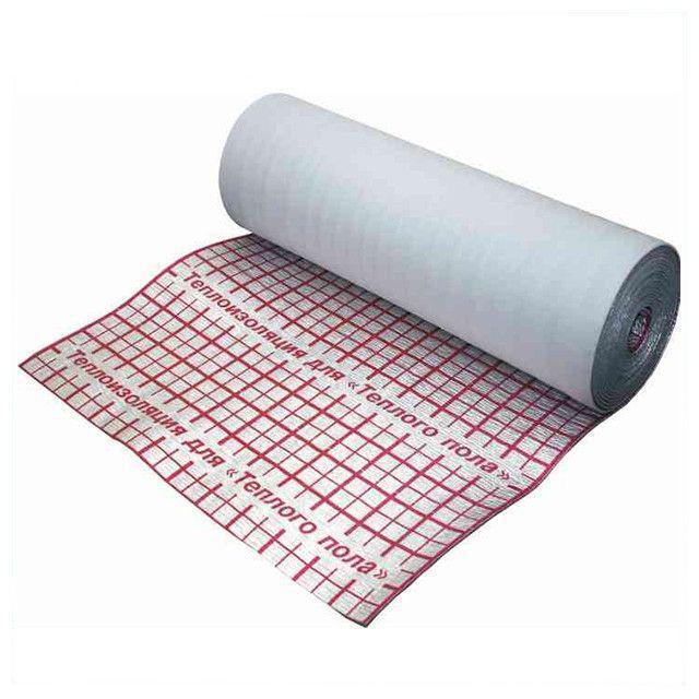 Рулонна теплоізоляція Теплоізол 3 мм (50 м) фольгована з розміткою з утеплювачем для теплої підлоги