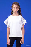 Школьная трикотажная блузка с короткими кружевными рукавами ТМ Зиронька