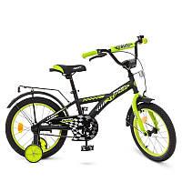 Велосипед детский16 дюймов Profi T1637 Racer, черно-салатовый, звонок, доп.колеса
