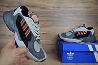 Мужские кроссовки Adidas Yung-1 Gray/White, серые топ реплика, фото 1
