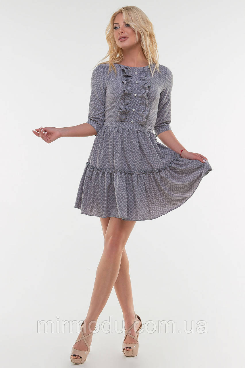 Летнее платье серо-фиолетовое цвета шифон (3 цвета)  размер 42-46  (влн)