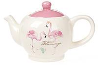Чайник керамический 900мл, Розовый Фламинго с золотой надписью BonaDi DM488-FL