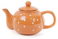 Чайник 1000мл, цвет - оранжевый в белый горошек BonaDi 593-243