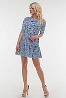 Летнее платье синего цвета шифон (3 цвета)  размер 42-46  (влн)