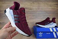 Мужские кроссовки Adidas ClimaCool  в сетку бордовые (ТОП реплика)