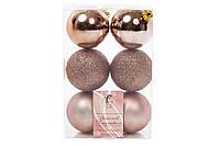 Набор елочных шаров 6см, цвет - карамельный мокко, 6 шт: глитер, матовый, глянец- по 2 шт BonaDi 147-434