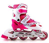 Ролики Superpower. Pink, размер 34-37 PU. Роликовые коньки, фото 1