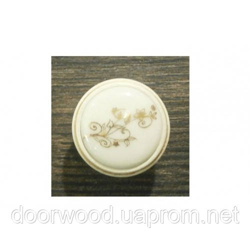Ручка-кнопка мебельная Giusti (золото винтаж/фарфор)