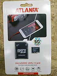 Карта пам'яті micro CD 4Gb + адаптер ATLANFA