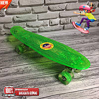 """Скейт Penny Board """"Light Side"""". Дека и колеса светятся! Салатовый"""