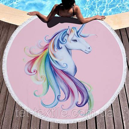 Круглое пляжное полотенце Единорог (150 см.), фото 2