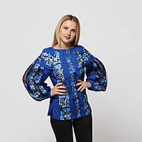 Детская синяя льняная рубашка для девочки с вышивкой Ерика MOTYV by Piccolo L