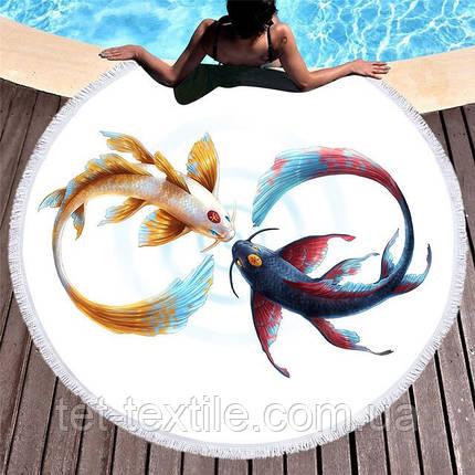 Круглое пляжное полотенце Инь-Янь (150 см.), фото 2