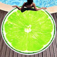 Круглое пляжное полотенце Лайм (150 см.)