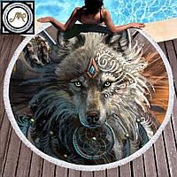 Круглое пляжное полотенце Волк (150 см.)