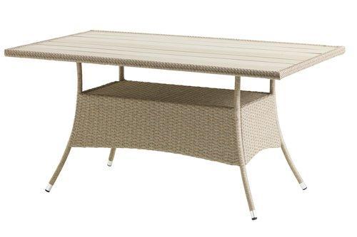 Стол садовый 84x150см, металический с искуственным ротангом