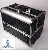 Бьюти кейс чемодан алюминиевый с ключом черный для мастеров
