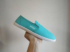 Adidas Мокасины слипоны кеды балетки  КОПИЯ  бирюзовые мятные голубые мягкие летние легкие, фото 3