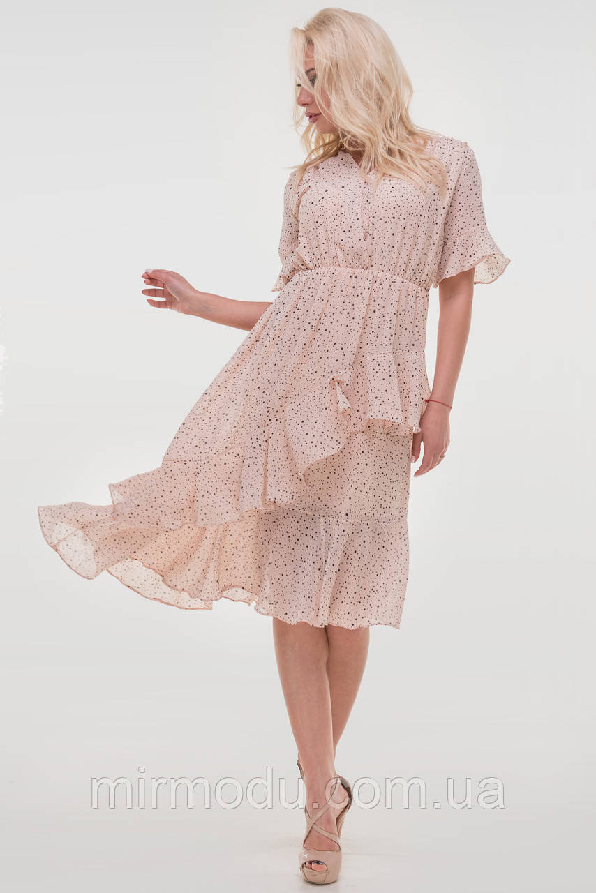 Летнее платье цвета пудры  шифон   размер 42-46  (влн)