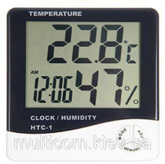 17-03-344. Цифровой термогигрометр HTC-1 (термометр+влажность+часы)