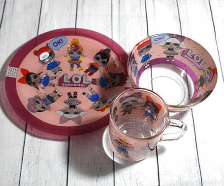 Набор детской стеклянной посуды 3 предмета с мульт-героями (A9551/2) Лол розовый, фото 2