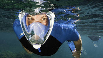 [ОПТ] Повна Маска для Пірнання, Снорклінга і Підводного Плавання (Блакитна)