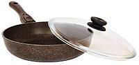 Сковорода Биол Гранит браун с антипригарным покрытием и съемной ручкой 24133ПС