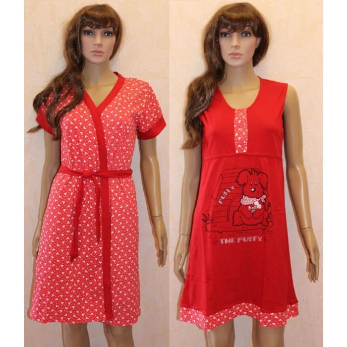 6f5b614511b2 Красный халат с ночной сорочкой для кормящих и беременных женщин из полотна  кулир Puffy 44-